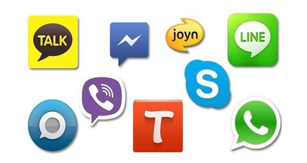 شعارات تطبيقات/خدمات الاتصال والمحادثة المجانية.
