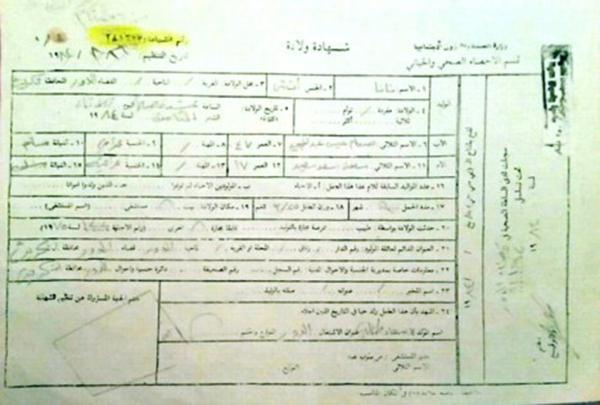 """نسخة من """"شهادة ولادة""""، ابنة صدام حسين الافتراضية التي تدعى """"نانا""""."""