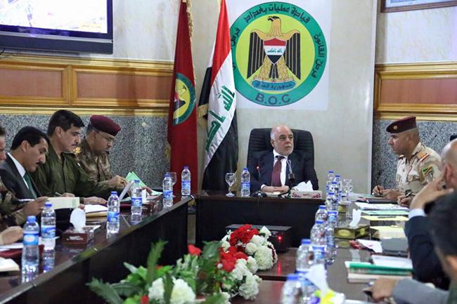 """حيدر العبادي يجتمع مع القيادات العسكرية والأمنية في مقر قيادة عمليات بغداد ويدعو لفرض """"هيبة الدولة"""""""