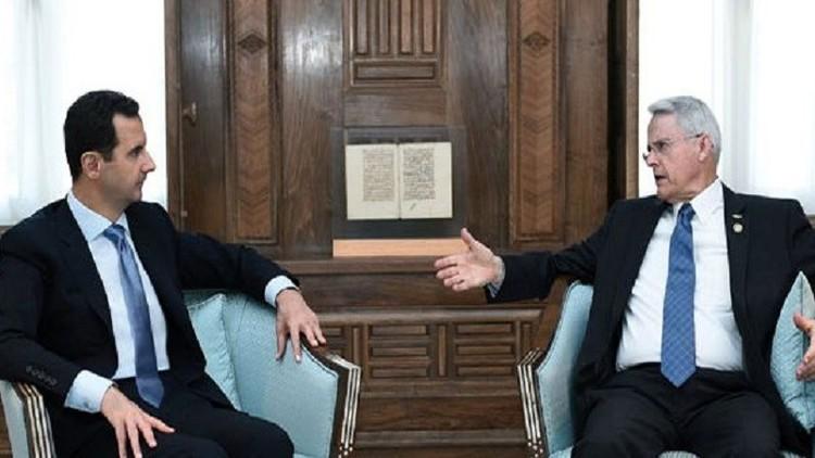 الرئيس السوري بشار الأسد يجتمع في دمشق بعضو مجلس الشيوخ الأمريكي