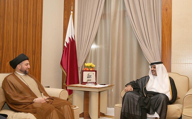 أمير قطر يستقبل عمار الحكيم بالدوحة