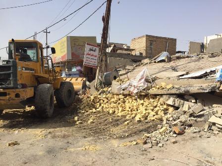 بالصور .. انهيار عمارة سكنية ومصرع امرأة بمنطقة الثيلة وسط الحلة
