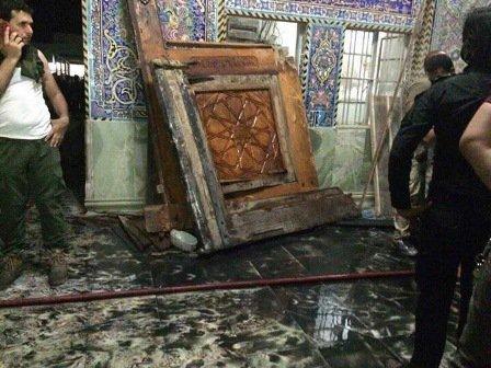 بالصور والفيديو: الاضرار التي خلفها الهجوم على مرقد السيد محمد