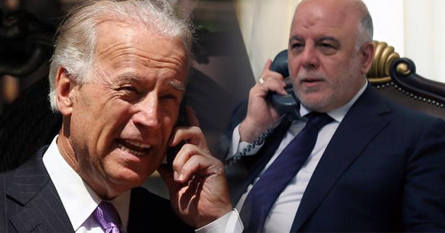 العبادي وبايدن يبحثان استكمال تحرير الموصل خلال اتصال هاتفي