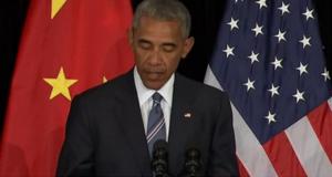 الرئيس الامريكي باراك اوباما، في مؤتمر صحفي على هامش قمةمجموعة الـ20 (5/ايلول/2016)