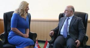 رئيس الوزراء حيدر العبادي والكرواتية كوليندا كيتاروفيتش في نيوروك (الاربعاء 21/ايلول/2016)