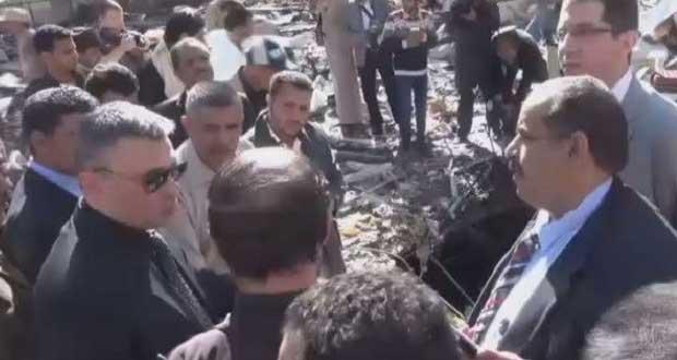 سفير روسيا يزور موقع مجزرة مجلس العزاء في صنعاء (فيديو)