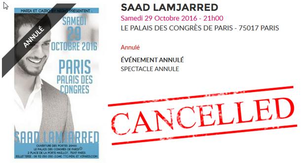 إلغاء حفل سعد المجرد في باريس