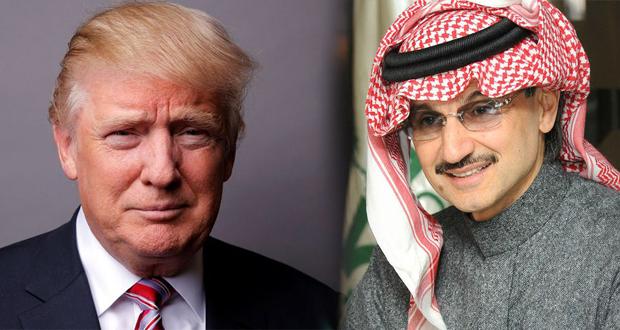 رجل الاعمال السعودي الوليد بن طلال يهنئ الرئيس الامريكي دونالد ترامب