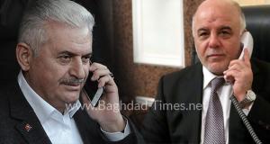 اتصال هاتفي حيدر العبادي بن علي يلدرم هاتفيا العراق تركيا انقرة بغداد