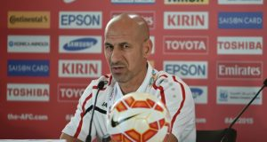 Iraq coach Radhi Swadi attends a press conference before their AFC Asian Cup semi-final football match in Sydney on January 25, 2015. AFP PHOTO/Peter PARKS --IMAGE RESTRICTED TO EDITORIAL USE - STRICTLY NO COMMERCIAL USE