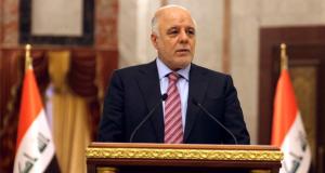 رئيس الوزراء العراقي حيدر العبادي، في مؤتمر صحفي ببغداد (3/كانون الثاني/2016)