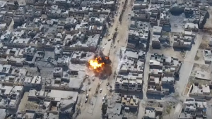 """بالصور: انتحاري """"داعشي"""" يفجر نفسه وسط تجمعاً للجيش التركي في الباب"""