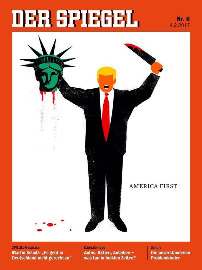 """مجلة ألمانية تثير جدلاً بسبب كاريكاتير """"بنكهة الإرهاب"""" عن ترامب!"""