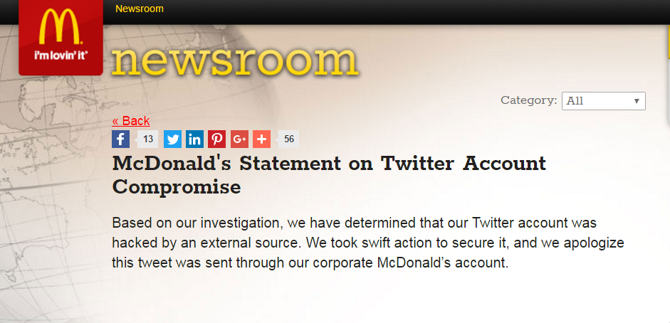 """بيان مقتضب لـ""""ماكدونالدز"""" يعتذر فيه ويوضح الخطأ."""