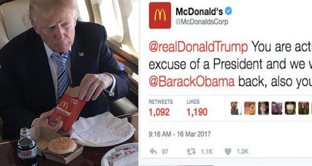 """ماكدونالدز لـ""""ترامب"""" أنت رئيس رئيس مثير للاشمئزاز !"""