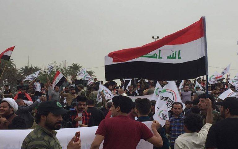 تظاهر مئات من منتسبي هيئة الحشد للمطالبة بتنفيذ الأمر الديواني وزيادة رواتبهم