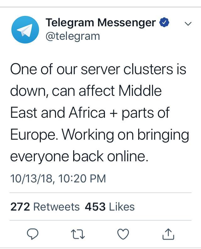 توقف خدمات التليغرام بالشرق الاوسط وافريقيا وجزء من أوروبا
