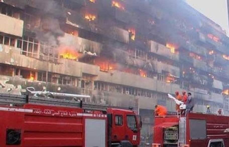 اندلاع حريق في منطقة الشورجة التجارية