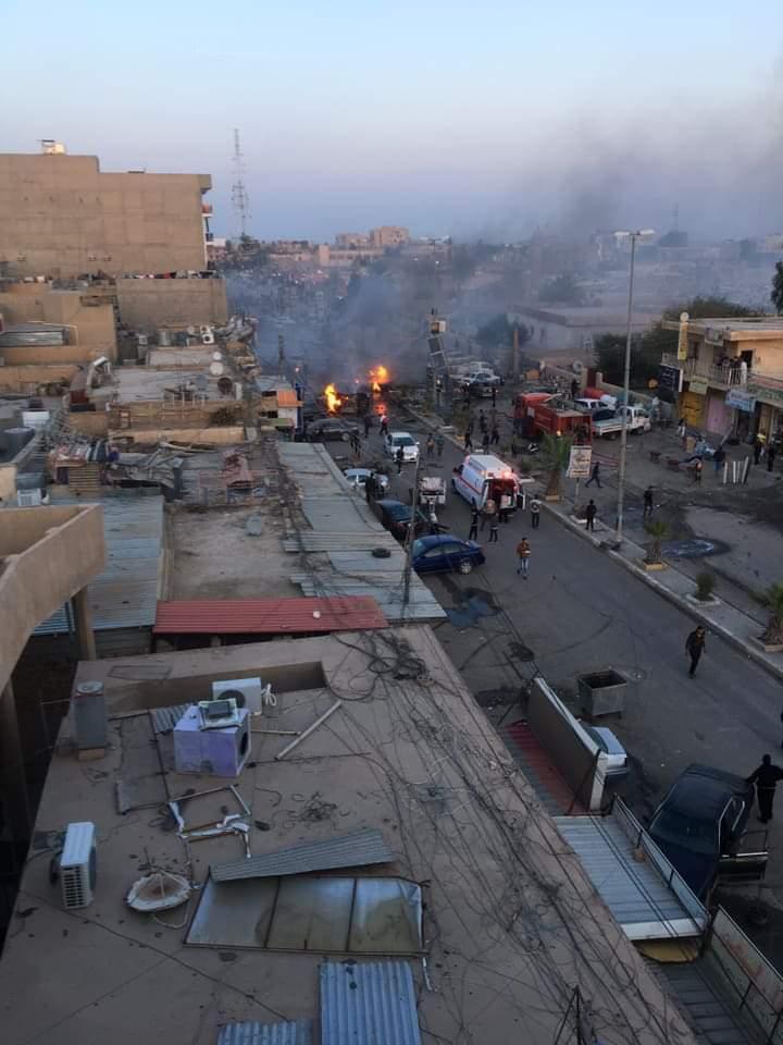 بالصور: انفجار سيارة مفخخة مركونة في شارع الاطباء وسط تكريت والحصيلة الاولية شهيد وخمسة جرحى