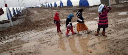 حقوق نينوى: السيول جرفت مخيمات ديبكة وشردت اكثر من 130 عائلة