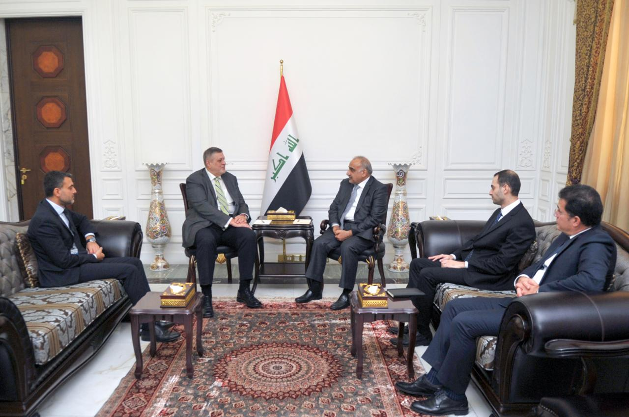 عبد المهدي يستقبل رئيس بعثة الامم المتحدة في العراق كوبيتش بمناسبة انتهاء مهام عمله