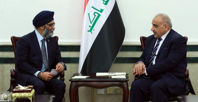 عادل عبدالمهدي يستقبل وزير الدفاع الكندي السيد هارجيت سينغ
