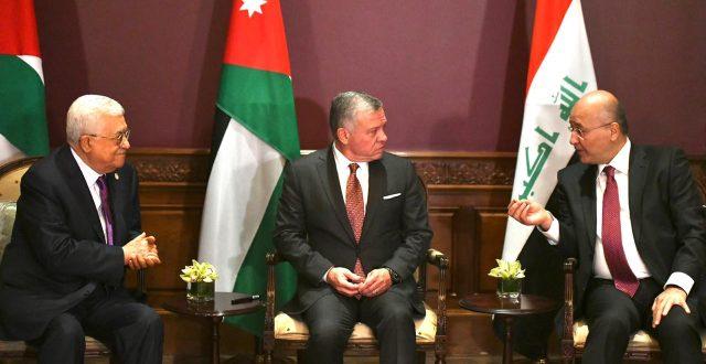 اجتماع ثلاثي بين رئيس الجمهورية والعاهل الاردني والرئيس الفلسطيني في عمان