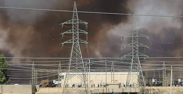 بالصور.. حريق هائل قرب ساحات كبريت المشراق في نينوى