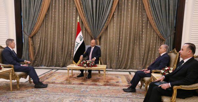 رئيس الجمهورية يتسلم اوراق اعتماد سفيري نيوزيلندا والولايات المتحدة لدى العراق