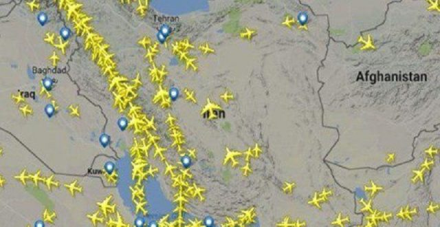 بالصورة.. مئات الرحلات الجوية تعبر أجواء إيران رغم تحذيرات واشنطن