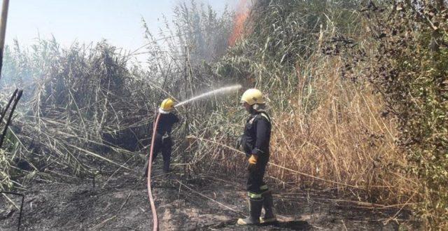 فرق الدفاع المدني تخمد حريقاً نشب بأربعة بساتين في خانقين