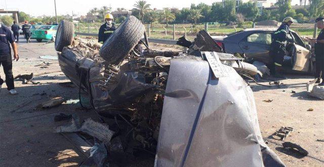 """بالصور.. حادث """"مروع"""" على طريق """"محمد القاسم"""" يتسبب بوفاة شخصين"""