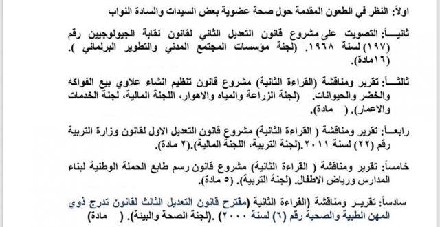 جدول اعمال جلسة مجلس النواب ليوم السبت المقبل
