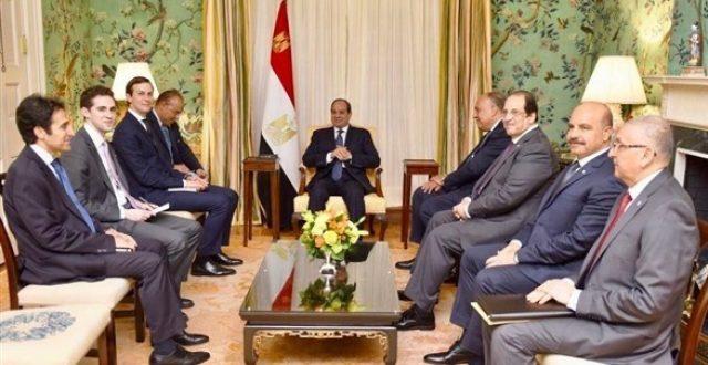 السيسي لكوشنر: مصر تدعم الجهود الرامية لحل عادل وشامل للقضية الفلسطينية