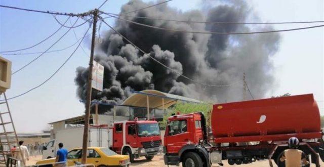 اندلاع حريق في كرفانات تابعة للضمان الصحي لوزارة الداخلية بالنجف
