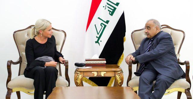 عادل عبدالمهدي يستقبل الممثلة الخاصة للأمين العام للأمم المتحدة في العراق
