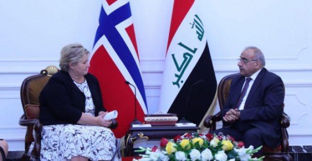 عبد المهدي لنظيرته النرويجية: العراق بحاجة الى دعم ضد الارهاب والأخيره تؤكد أن العدالة أساس التنمية