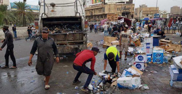 أمانة بغداد: رفع أكثر من 20 الف طن من النفايات من مركز العاصمة وساحات التظاهر
