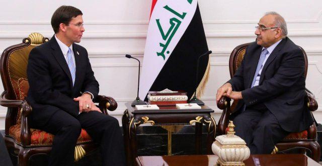 رئيس مجلس الوزراء عادل عبد المهدي يستقبل وزير الدفاع الامريكي السيد مارك اسبر