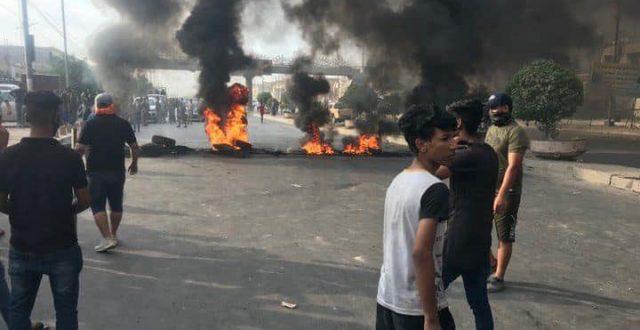بالصور .. تظاهرات غاضبة بمنطقة الشعب وقطع تام للطريق في العاصمة بغداد