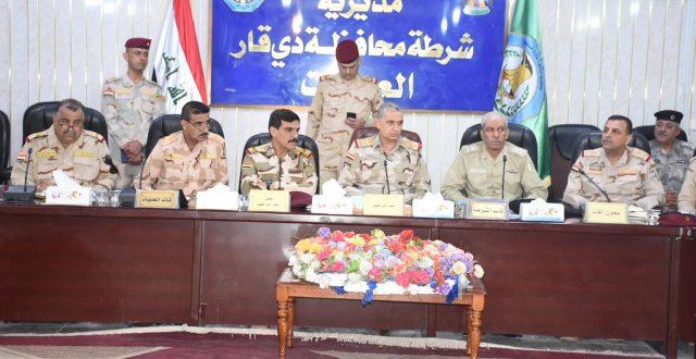 رئيس اركان الجيش يعقد مؤتمرا امنيا موسعا في مقر قيادة شرطة ذي قار