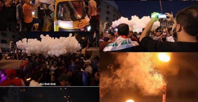 رسالة سلام من ارض السلام..سماء بغداد انارت ليلة امس بالبالونات البيضاء اشارة من المتظاهرين لسلمية التظاهر