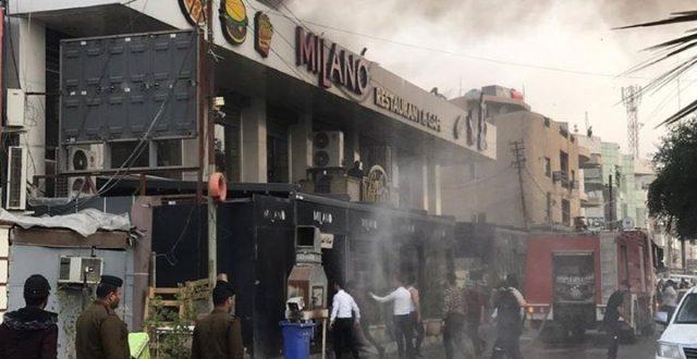 """النار تلتهم مطعم """"ميلانو"""" الشهير في منطقة الكرادة ببغداد"""