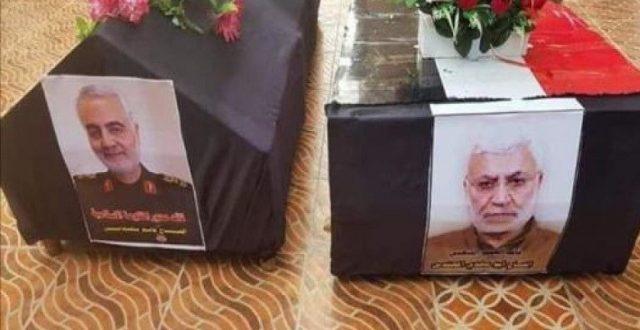 خامنئي يؤدي صلاة الجنازة على جثماني الشهيد المهندس وسليماني في طهران