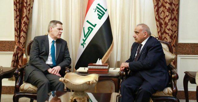 رئيس مجلس الوزراء السيد عادل عبدالمهدي يستقبل السفير الامريكي