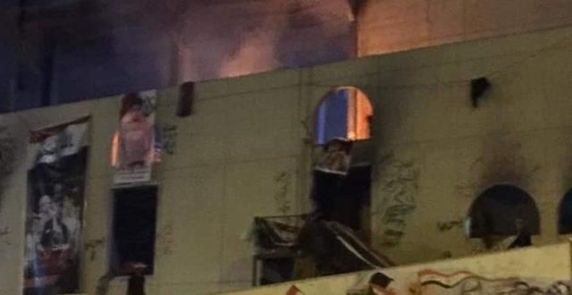 انباء عن مشاجرة بين المتظاهرين داخل المطعم التركي تتسبب بحرق الطابق الاول