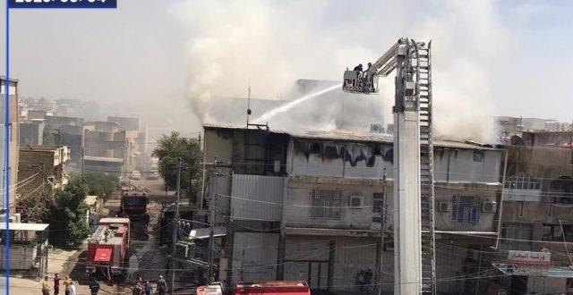 حريق كبير يلتهم مذخراً للأدوية في منطقة الشعب شمال شرقي بغداد