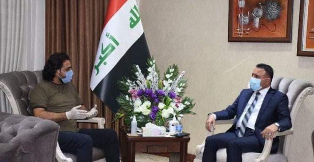 وزير الصحة يلتقي هشام الذهبي مدير مؤسسة البيت العراقي للابداع الانسانية