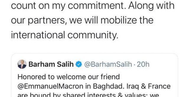 الرئيس الفرنسي يغرد بعد اختتام زيارته الى العراق